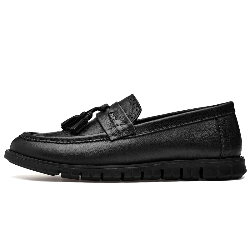 CLAX Men Brogue Shoes Genuine Leather 2018 Summer Autumn Leather Shoes Slip on Male Loafers Casual Shoe tassel Leisure Footwear