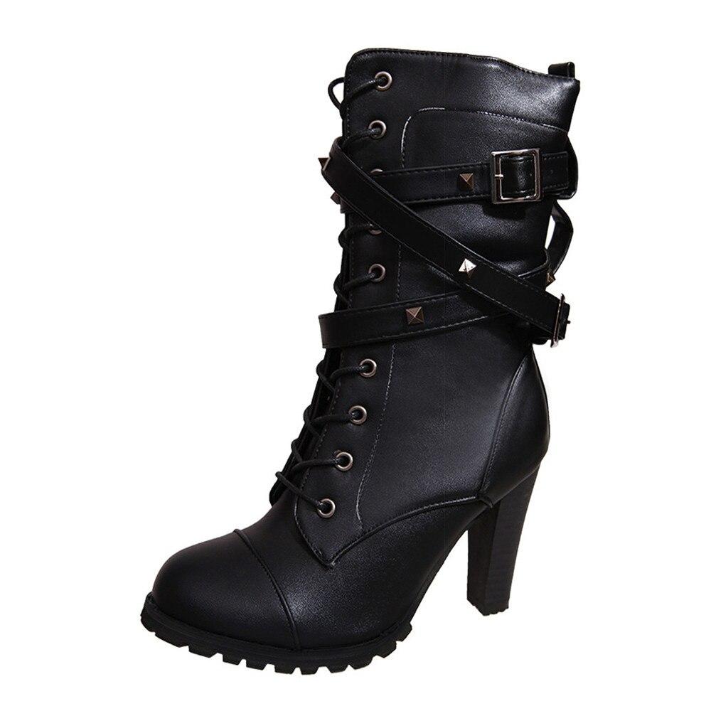 shoes Boots Women Ladies Classics Rivet Belt High Heels Mid-Calf Boots Shoes Martin Motorcycle Zip boots women 2018Oct31 23