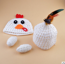 Newborn Baby Knitted Photography Props Hat Clothing Set Infant Baby Handmade Knit Crochet Chicken Costume Outfit Birthday Gift