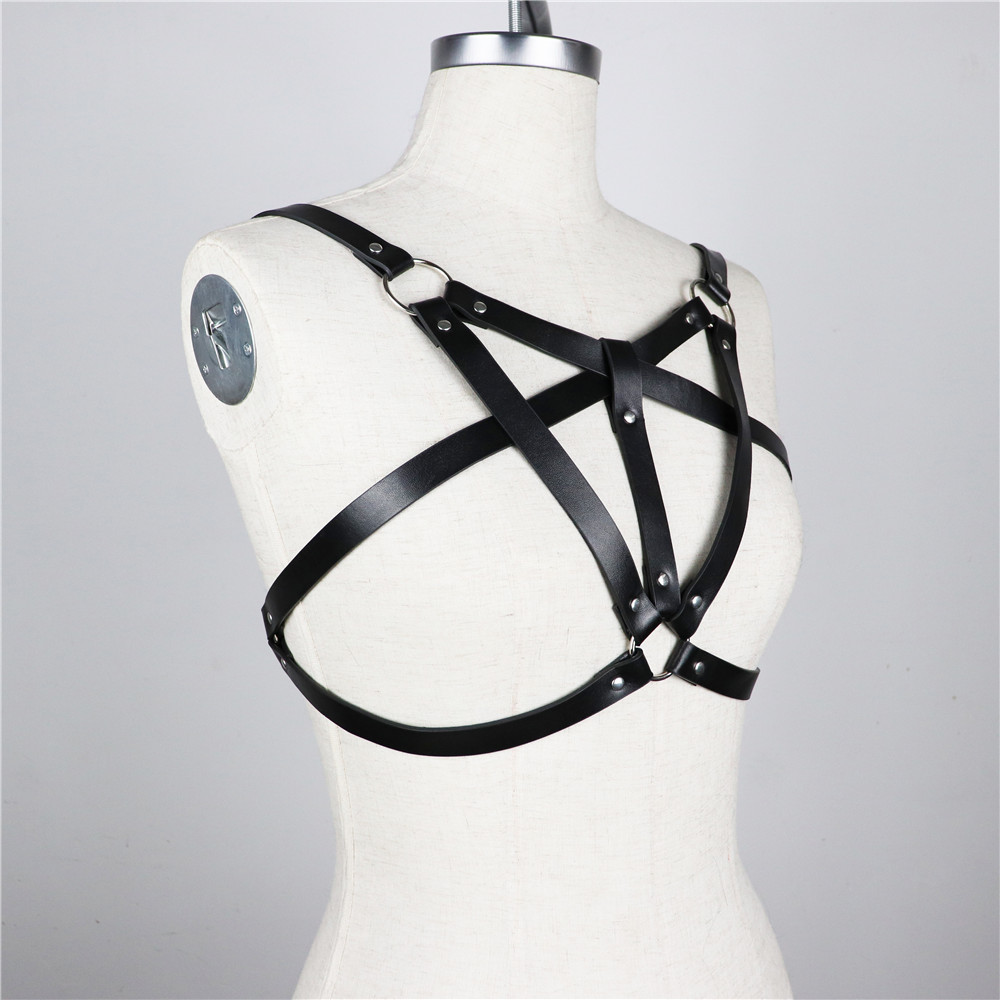 Women Sexy Tops Chest Leather Belt Harness Bondage Gothic Bra Cage For Female Black Punk Gothic Waist Straps Dropping in Garters from Underwear Sleepwears