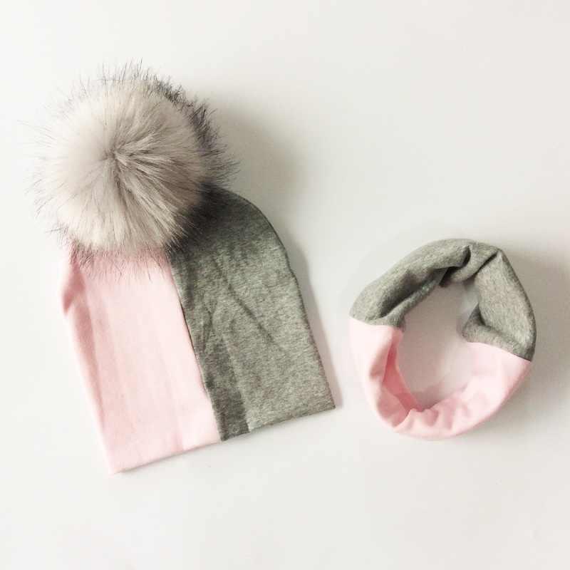 หมวกเด็กเด็ก Pompom หมวกผ้าพันคอชุดสำหรับหญิงและเด็กหมวกฤดูหนาวหมวกเด็กฝ้าย