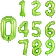2Pc 0 1 2 3 4 5 6 7 8 9 gigant 40 cal zielony numer balony z dinozaur folia balon dla dzieci dinozaur Birthday Party Supplies kulki(China)