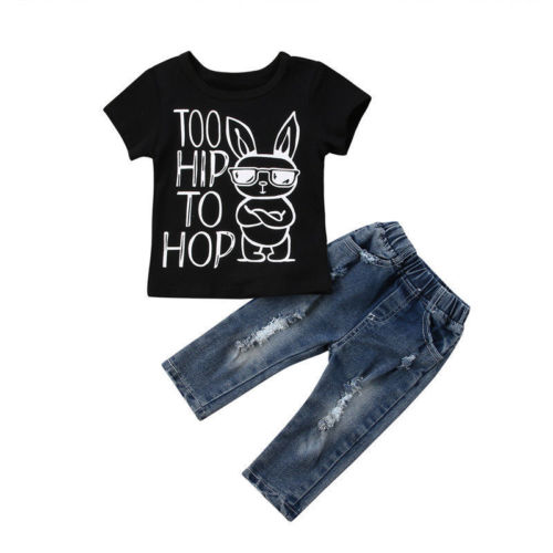 2018 Newborn Baby Boy Girl Clothes Cotton T Shirt Tops + Destroyed Jeans Outfits Cotton Children Clothing 2PCS