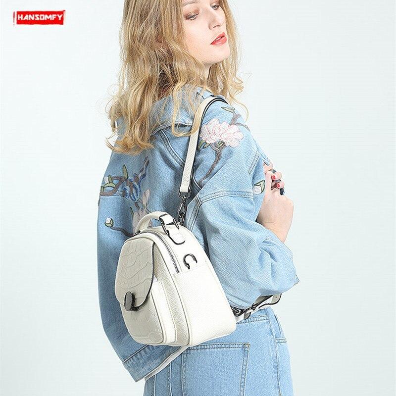 2019 nouveau luxe mode en cuir véritable femmes sac à dos nouveau sauvage femme sac à bandoulière blanc en cuir de vachette dames petits sacs à dos-in Sacs à dos from Baggages et sacs    1