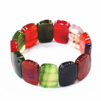 Strand Bracelets Stone Natural Multicolor Agates Jades Crystal Geometry 18x25mm Beads Bangles Women Manual Jewelry 7.5inch B3279