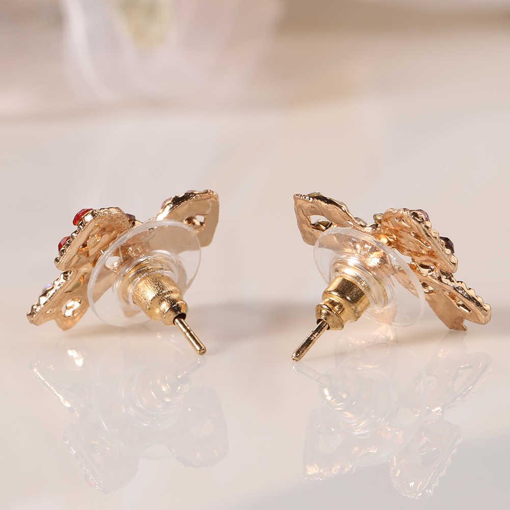 Женские цветные серьги-гвоздики с кристаллами золотого цвета с бантом Oorbellen, серьги-гвоздики Brincos, прелестные серьги, модные украшения, Новинка