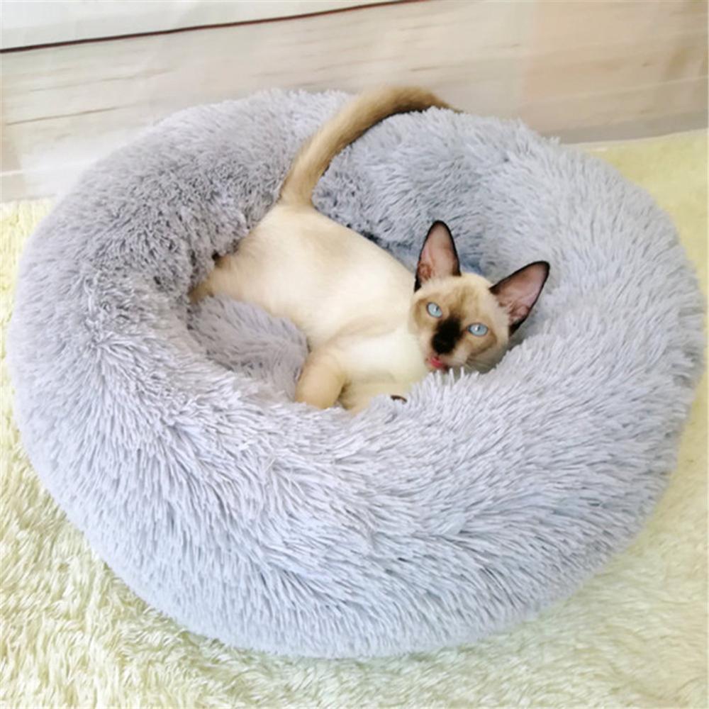 Long Plush Super Soft Pet Bed Kennel Dog Round Cat Winter Warm Sleeping Bag Puppy Cushion Mat Portable Cat Beds 40 50 60 70 80cm in Cat Beds Mats from Home Garden