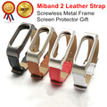 Leather Strap For Xiaomi Mi band 2 Wrist Strap Miband 2 Smart Bracelet Screwless Stainless Steel Metal Frame and Leather Belt