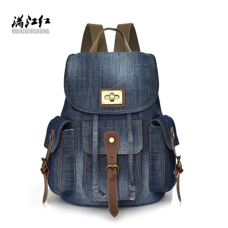 2018 New Vintage Denim Double Shoulder Bag Female Korean Version Backpack Canvas Bag Leisure Travel Cross-border Wholesale