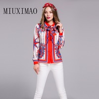 2017 Latest New Arrival Europe Casual Long Sleeve Bow Turn Down Collar Shirt Printed Floral Elegant