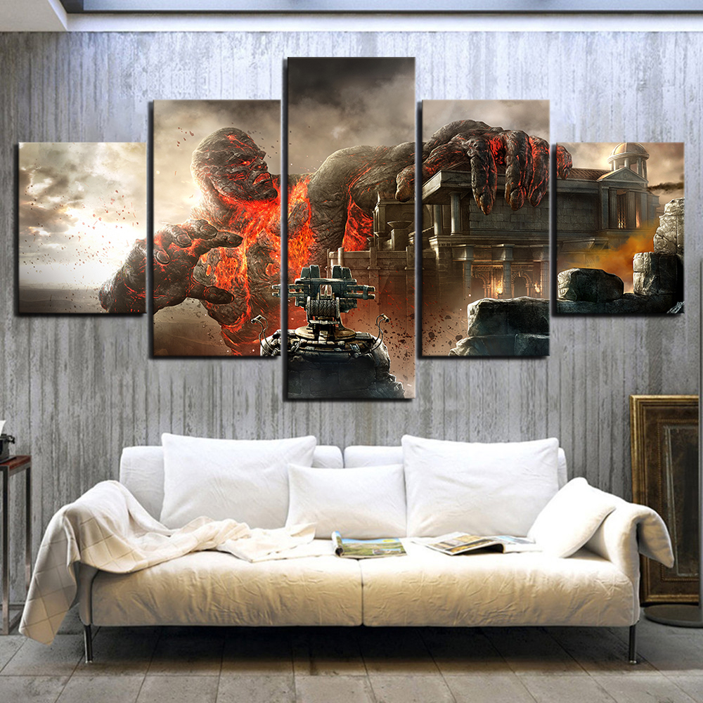 5 Piece Fantasy Art Canvas Paintins God of War III Video Game Poster Pictures Wall Paintings for Home Decor Wal Art(China)
