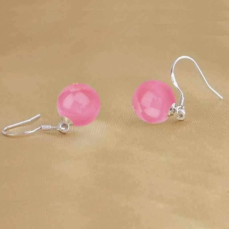 핑크 고양이의 눈 돌 드롭 귀걸이 여성 귀걸이 earings  스털링 실버 주얼리 귀걸이 brincos brinco oorbellen 선물
