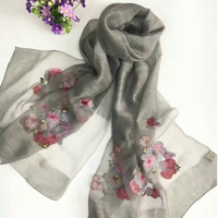 Sparsil Women New Design Silk Scarf Floral Embroidered Long Shawl Fashion All Match Ladies Wraps High