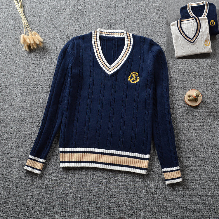 British Japanese School Uniform Embroidery Crown V-neck Boys And Girls Winter Long-sleeved Student College Uniforms Sweater