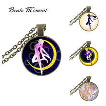 Limited Promotion Collier Collares Sailor Moon Pendant Necklace B&m Glass Gems Anime Photo Space Galaxy Jewelry NecklacesHZ1