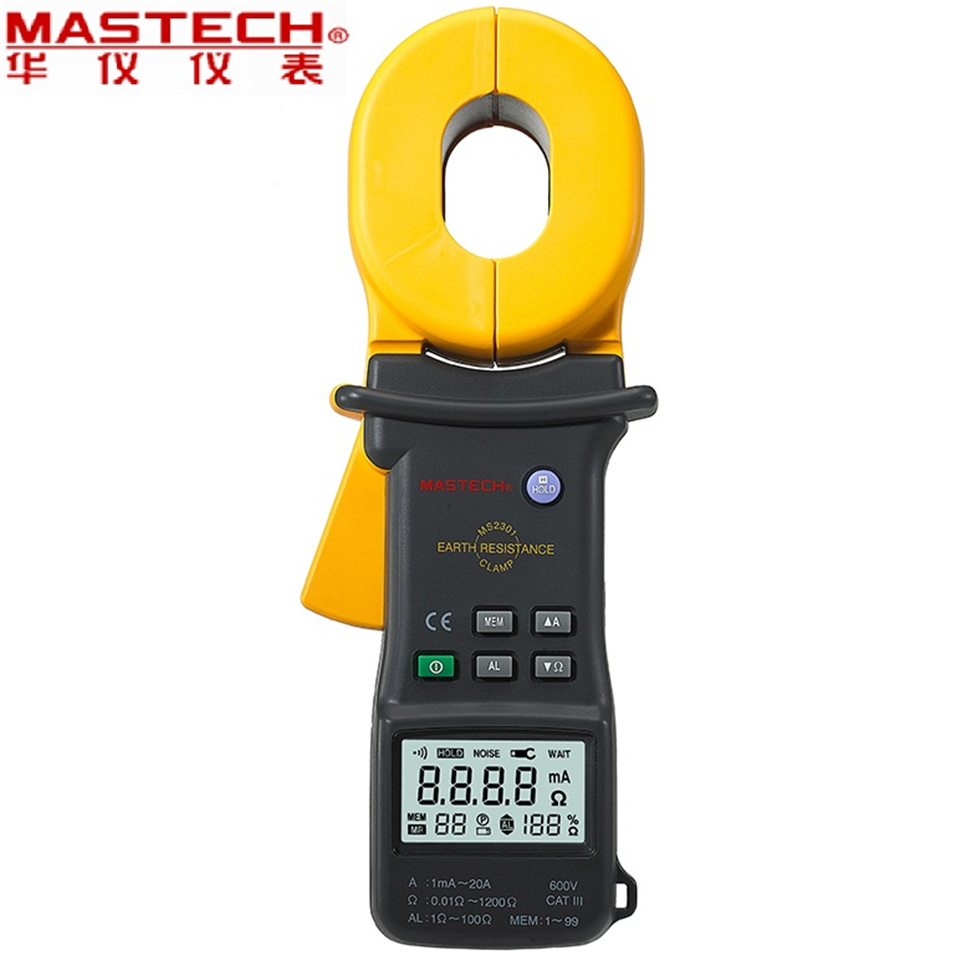 MASTECH MS2301 Protable 0.01Ohm High Accuracy Digital Advanced Earth Ground Resistance Clamp Meter Tester Megger Megohmmeter