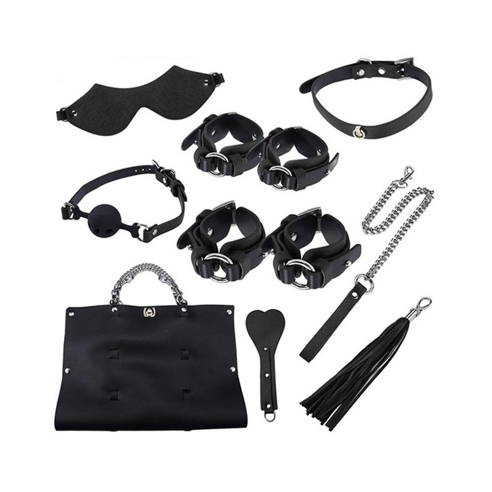 8 pièces adultes jouets sexuels menottes cheville poignets fouet bouche Gag masque pour les yeux BDSM Bondage contraintes ensemble Sexy Lingerie jouets pour adultes
