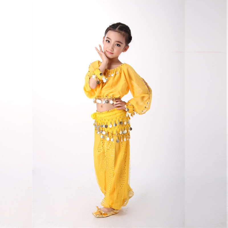Belly Dance Costumes Set Indian Dress Long Sleeves Kids Girls Bollywood Gypsy Costumes Gift Bollywood Costumes 3 Colors in Belly Dancing from Novelty Special Use