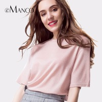 E Manco Fashion Popular Pink And Blue Short Sleeve Clothing T Shirt Women Casual T Shirt