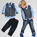 Осень зимний костюм мальчик 3 шт. набор рубашка + жилет + джинсы мальчики Джентльмен галстук рубашка комплект одежды 2015 наряды