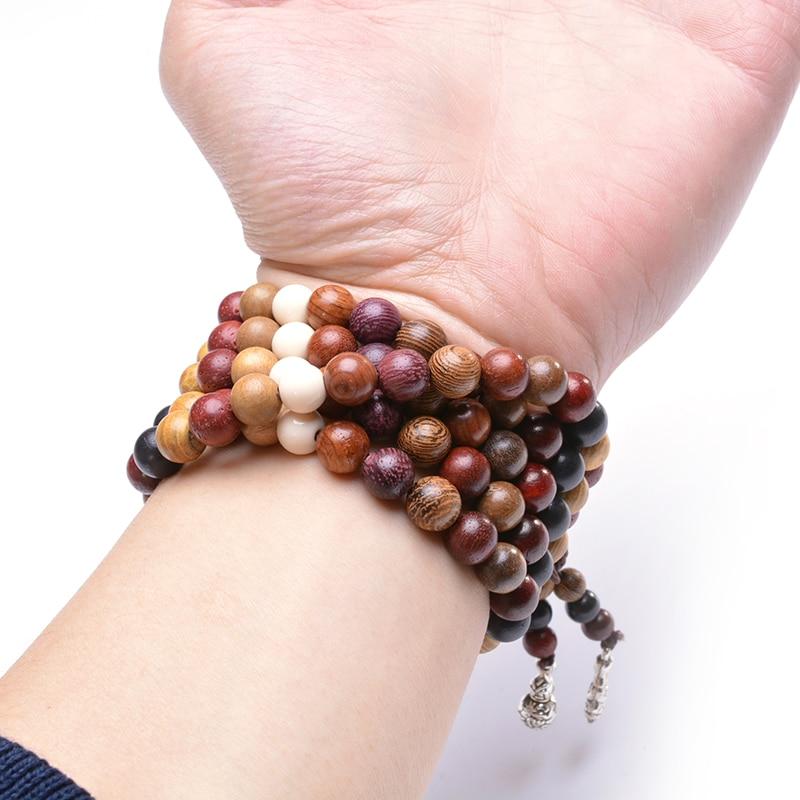 108 berbagai Cendana Tibet Buddha Doa Beads Gelang DIY Buddha Mala - Perhiasan fashion - Foto 4
