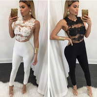 2016 Newest Women Sexy Sleeveless Hollow Out Lace Patchwork Jumpsuits Fashion Long Pants Jumpsuits Rompers