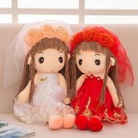 Wedding Flower Fairy Dolls Fantasy Stuffed Dolls Flower Plush Wedding Dress Rag Dolls Girls Cloth Dolls Birthday Christmas Gift