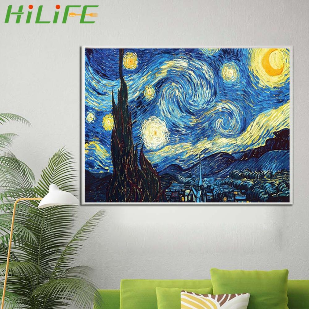 DIY 5D Diamond Painting Embroidery Van Gogh Starry Night Cross Hotel Bar Kit Art