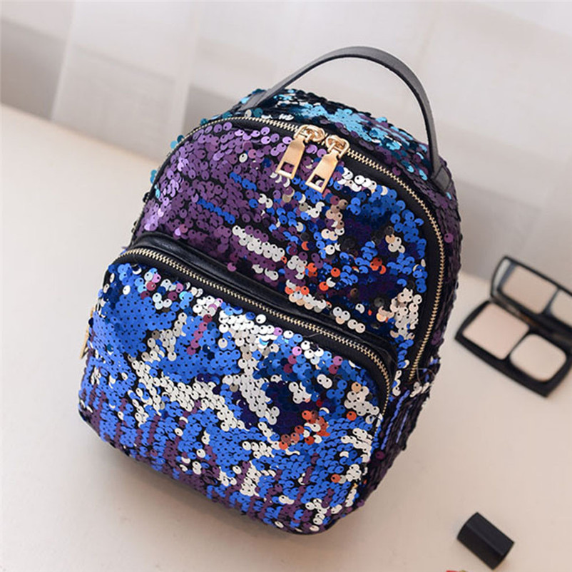 2017 New Brand Women Fashion School Style Sequins Travel Satchel School Bag Backpack High Quality Ruckpack
