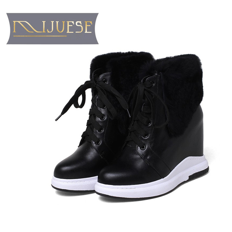 MLJUESE 2019 women Mid calf boots cow leather white color wool fur warm winter platform wedges