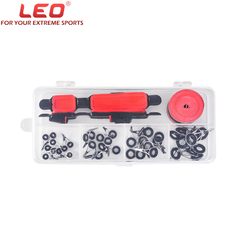 LEO Fishing Rod Accessories Kit Adjustable Reel Deck Seat+Fishing Rod Tip+Sweatband In Box Guide Rings Non-slip Fishing Rod Grip