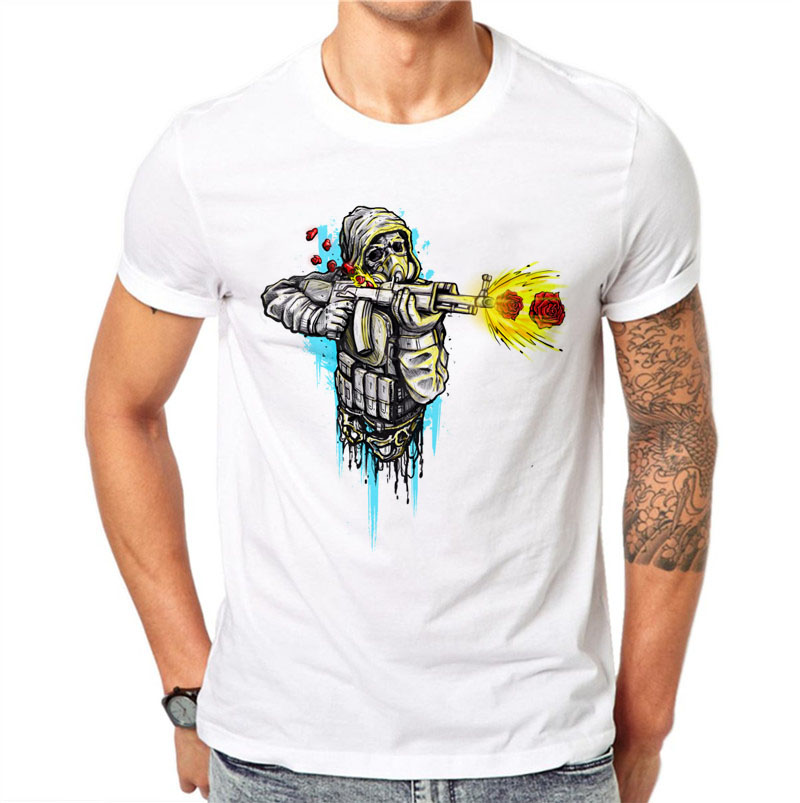 100% Cotton Punk Men Skull Gun Roses Printed T-shirt Mens Rock Tops Tee Casual Short Sle ...