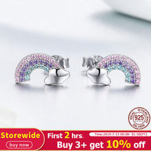 BISAER Trendy 925 Sterling Silver Pink Rainbow Small Stud Earrings Cheap Women Earrings Sterling Silver Brincos Jewelry ECE578(China)