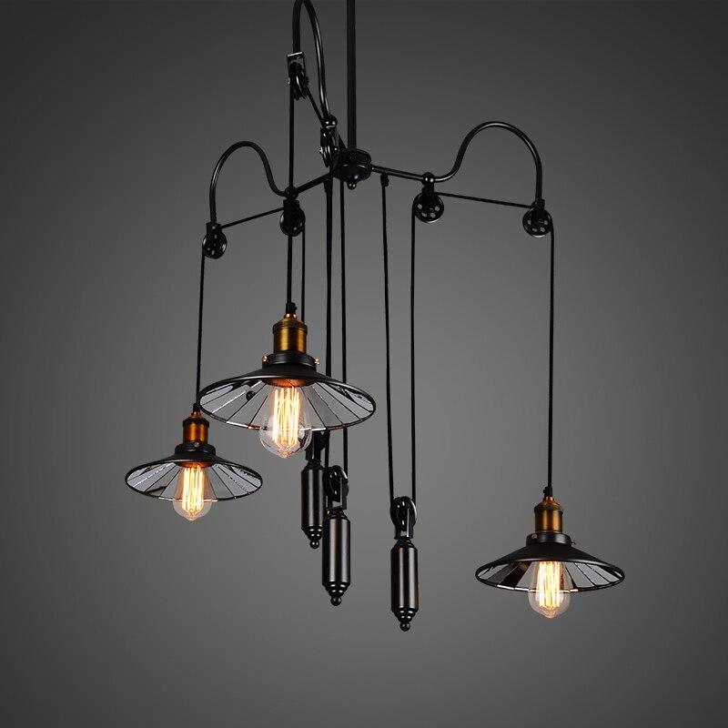 Подвесные светильники ветер Творческий Ретро Промышленность Ресторан Бар Американский Сельский тройной подъемник Телескопический подвес