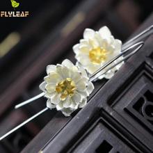 925 Sterling Silver Flower Earings Elegant Lotus long Drop Earring For Women Fashion Brincos Grandes Fine Jewelry pendientes