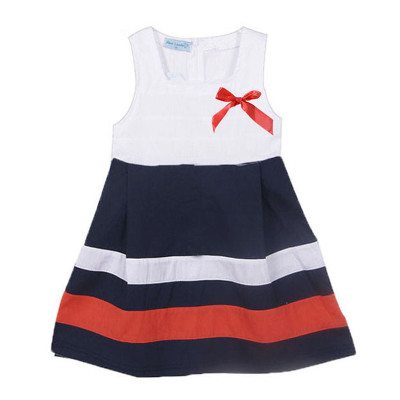 2018 New Style Children Clothing Dress Sleeveless Striped Bow Girl Dress Printed Kids Girls Dresses Girl Princess Dress