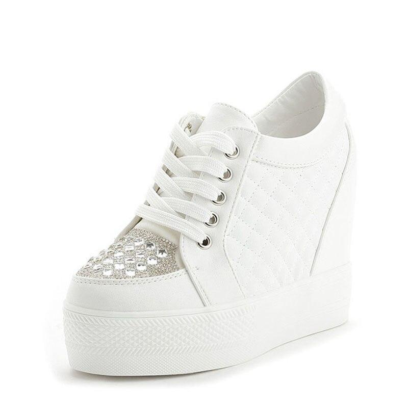 blanc Pour talons 2018 De Strass E Sneakers Femmes Haute Blanc forme Jouets Mot Plate Casual Noir Appartements Automne Femme Mode Chaussures Noir Z1xttO4wq