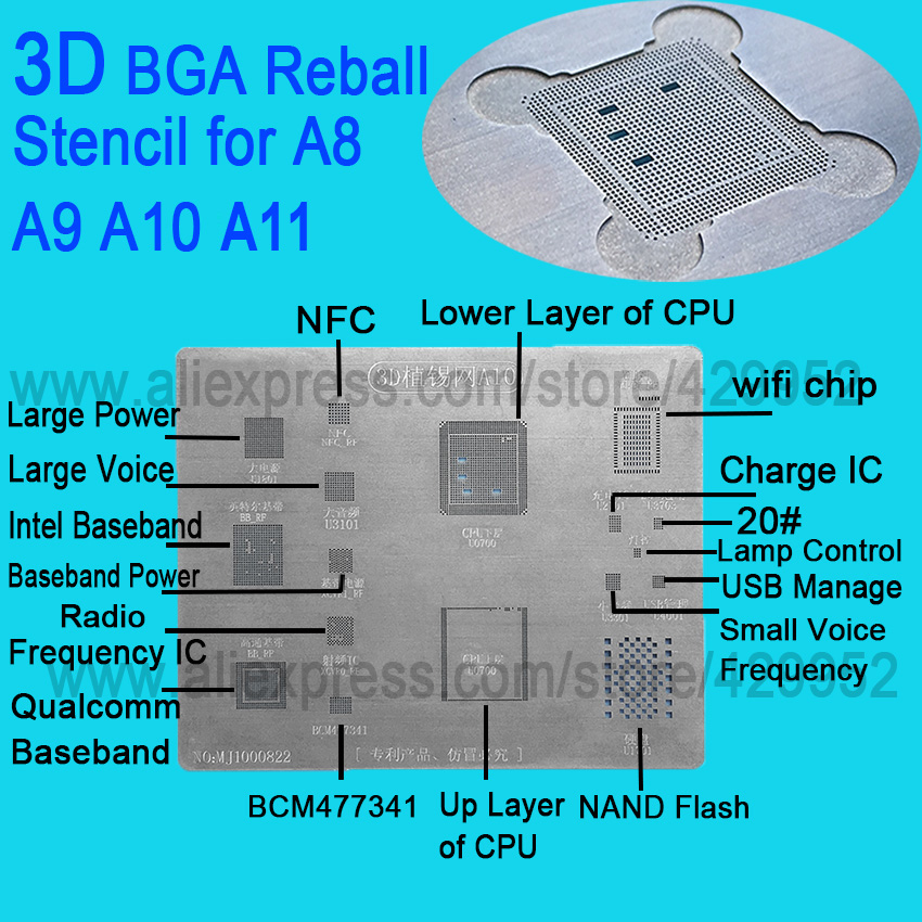 3D IC Chip BGA Reballing Stencil Kits Set Solder template for iphone A8 A9 A10 A11 high quality