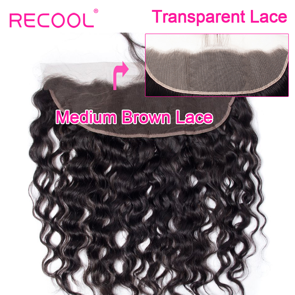Recool Brazilian Water Wave HD Transparent Lace Frontal Closure With Baby Hair Ear To Ear Pre