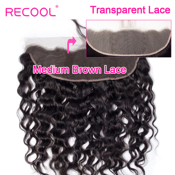 Recool 브라질 워터 웨이브 hd 투명 레이스 정면 폐쇄와 아기 머리카락 귀에 pre prelucked human hair lace frontal