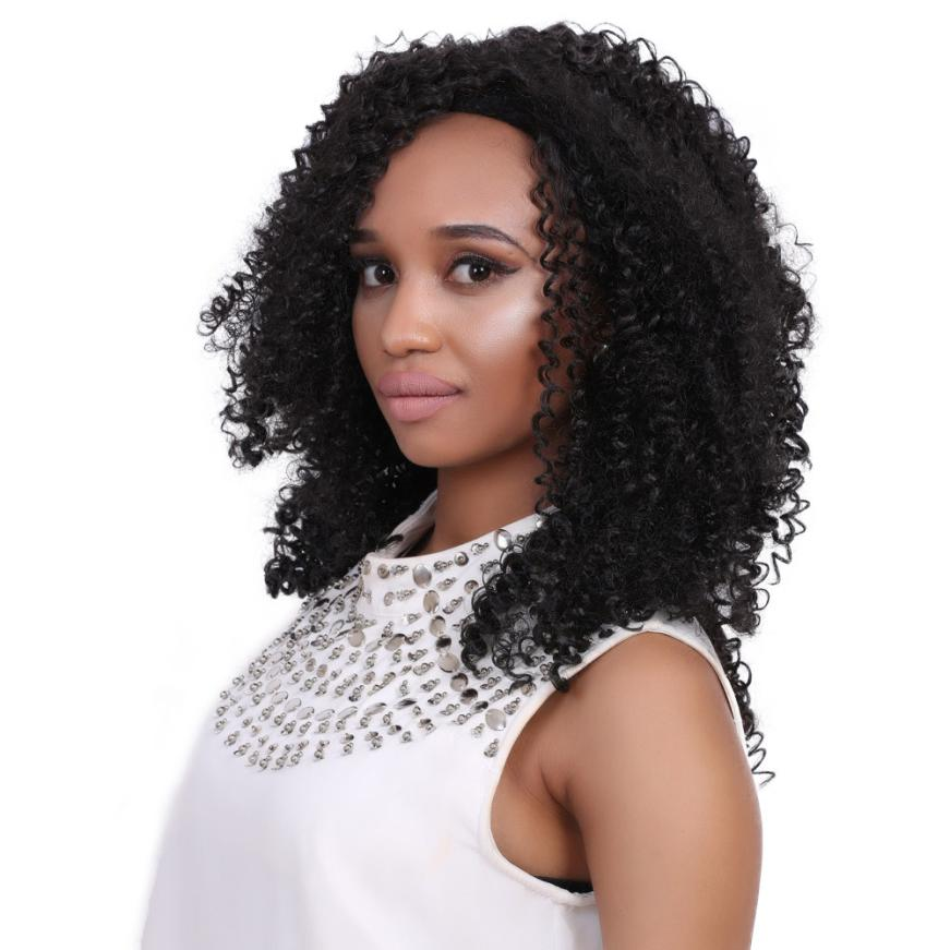 цены  Deep Curly Heat Resistant Lace Front Synthetic Hair Wigs For Fashion Women Black 17July27