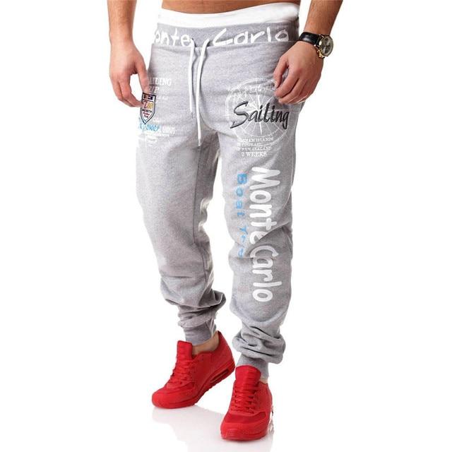 2017 Casual Loose Pantalon Homme Fashion Men Capri Pants Men Plus Size L-2XL Letter Print Sweatpants Clothing