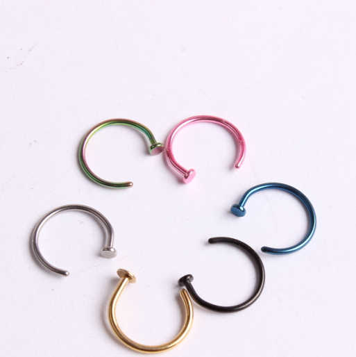 wholesale Fake Piercing Medical Nostril Titanium Gold Silver Nose Hoop Nose Rings clip nose ring Body Piercing Jewelry For Women