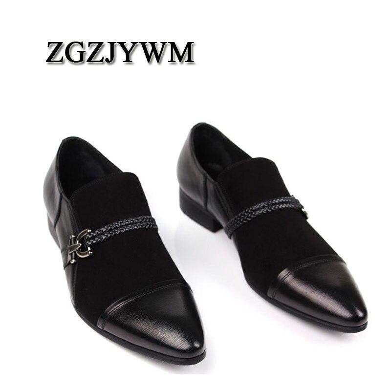 Nubuck Mode Nouvelle Casual Classique Gentleman Motif Homme Noir En Pointu Bout Confortable Véritable Black Chaussures on Cuir Plat Slip Zgzjywm dFP4xq5wd
