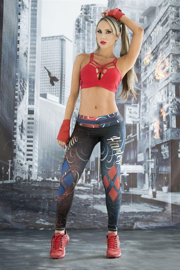 Cosplay Harley Quinn Women Traning Leggings Skinny Fitness Pants Customs Superstar Town