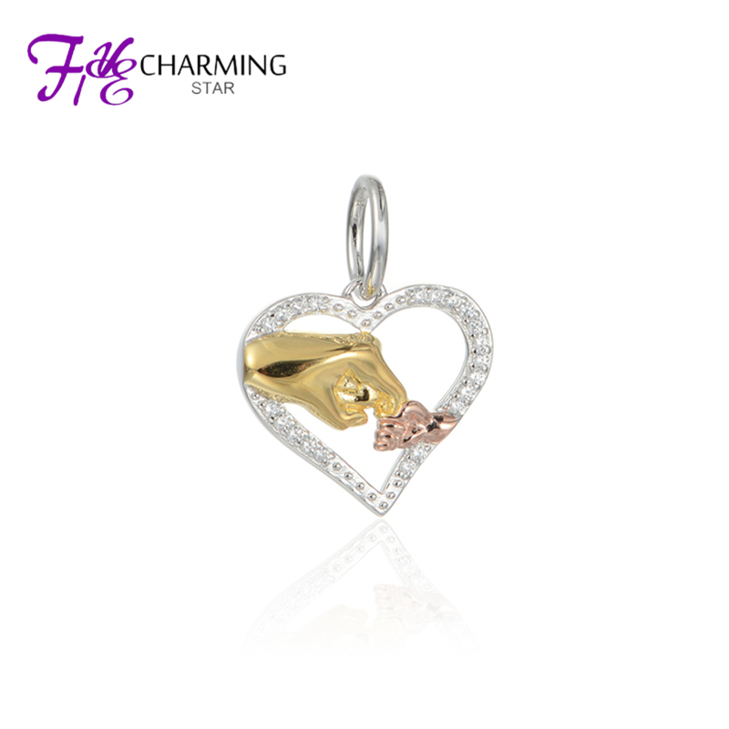 New Big Hand Baby Hand Heart Charm Silver Pendant Rose Gold Gold