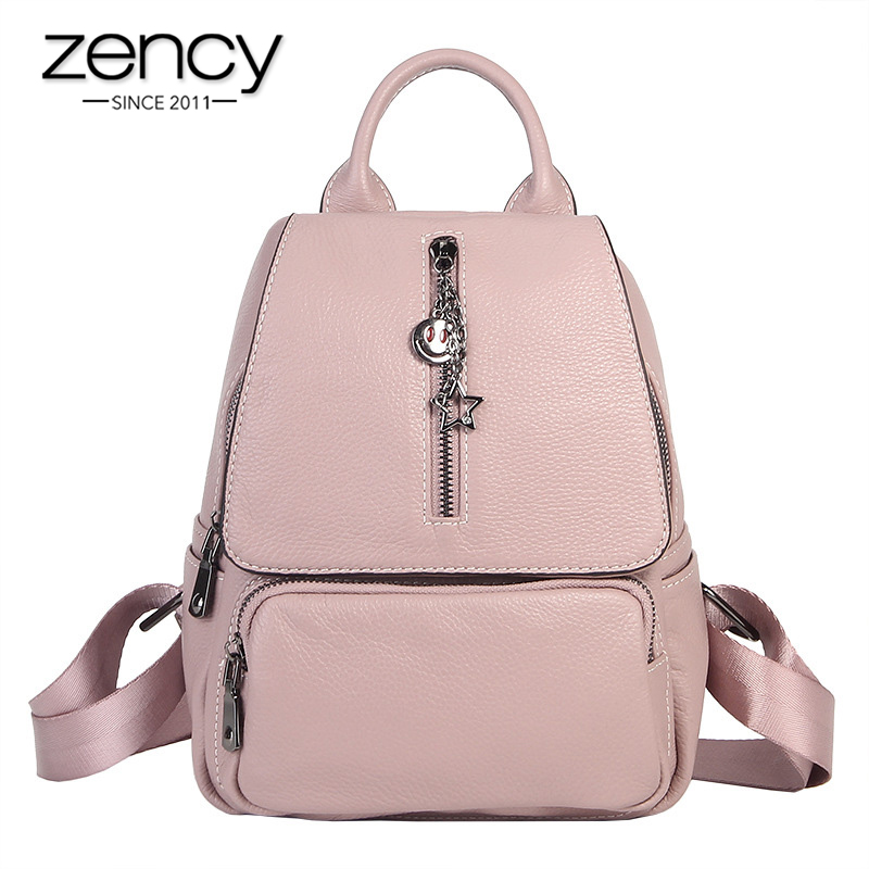 Zency Fashion Women Backpack 100% Genuine Leather Preppy Style Schoolbag For Girls Daily Casual Knapsack Travel Bags Grey Black