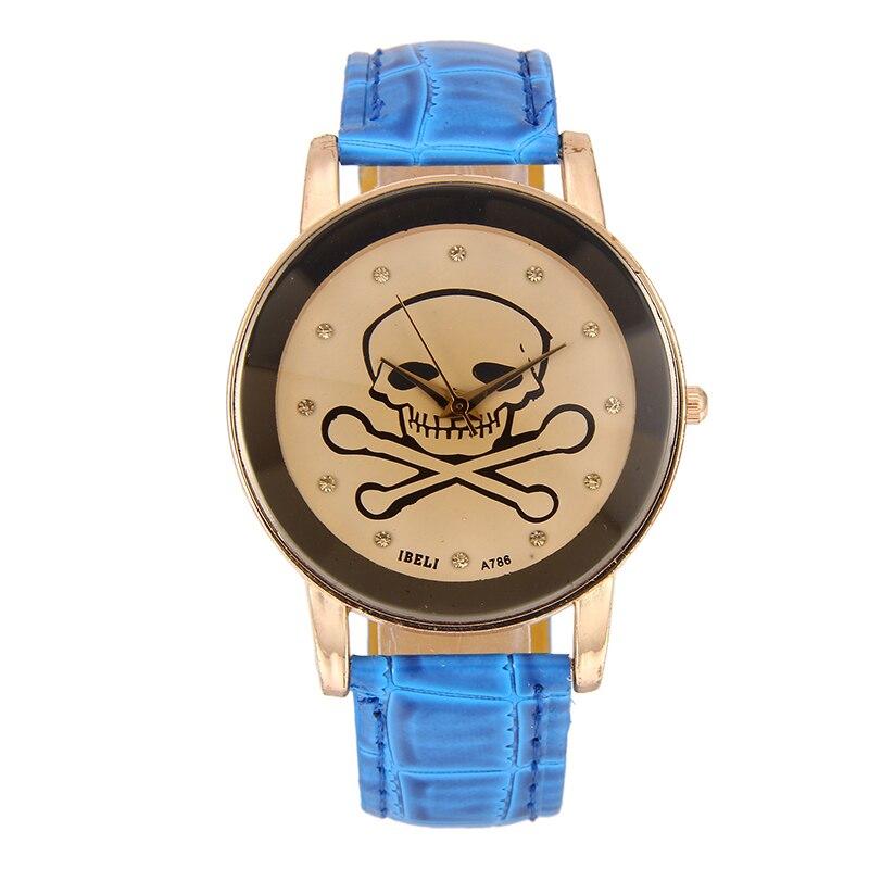 Creative skull dial student Casual Watch Fashion Women Dress Watch Lovers' Leather Quartz Wristwatch Cute Men clock hours gift