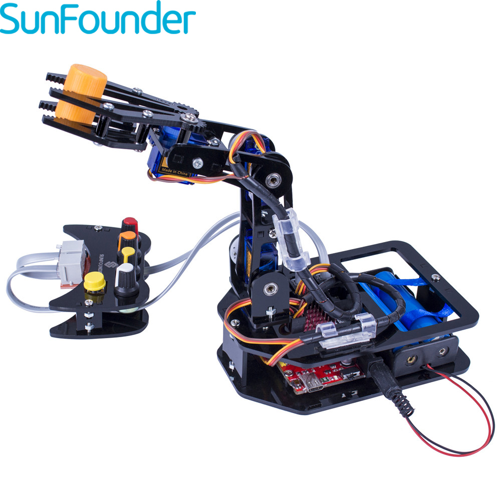 SunFounder RC Robot Elctronic Robotic Arm Kit 4-Axis Servo Control Rollarm for Arduino DIY Toy Kits For Children sunfounder sf rollbot stem learning educational diy robot kit gui mixly for arduino beginner bluetooth module infrared sensor