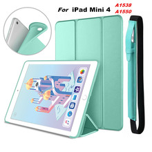 for iPad Mini 4 Ultra Slim Lightweight Smart Case Trifold Stand with Flexible Soft TPU Back Cover mini4 A1538 A1550